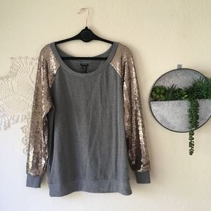 Torrid sequin sleeve gold grey baseball pullover